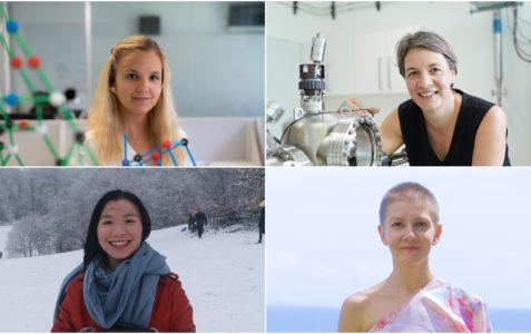 four women quantum physicists collage