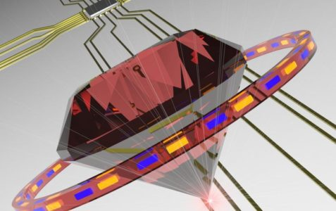 An artist's impression of a diamond building block in a future photonic circuit. The red color emphasises the germanium vacancy centres emitting at the red spectral range and the ring illustrates the cavity.